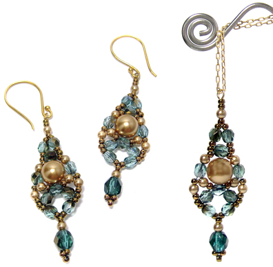 dewdrop earrings and pendant