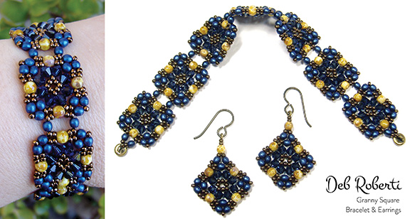 Granny Square Bracelet & Earrings
