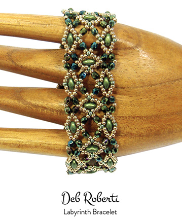 Labyrinth Bracelet in Gold Shine Green SuperDuo beads