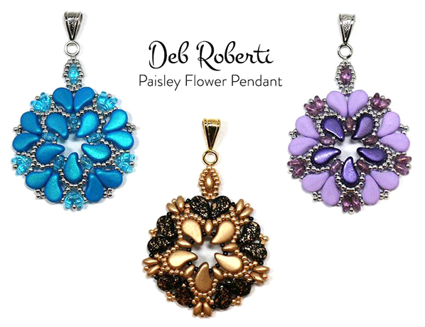 Paisley Flower Pendants beaded up by Betsy Ramsey