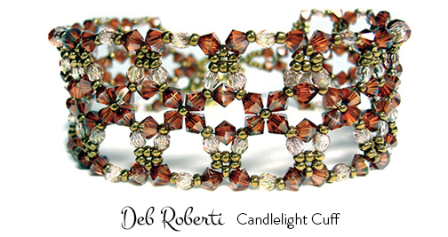 Candlelight Cuff, free at Deb Roberti's AroundTheBeadingTable.com
